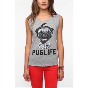 Goodie Two Sleeves Gray Pug Life Muscle Tank Top S